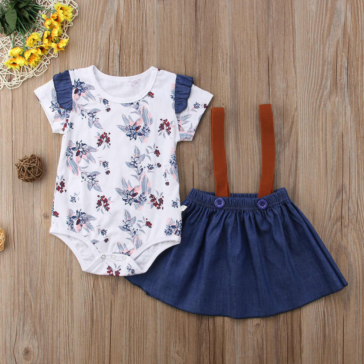 389f20b652fa ... 2018 Kids Baby Girl Floral Jumpsuit Short Sleeve Romper Prom Tutu Skirt  Dress Outfits Set 0 ...
