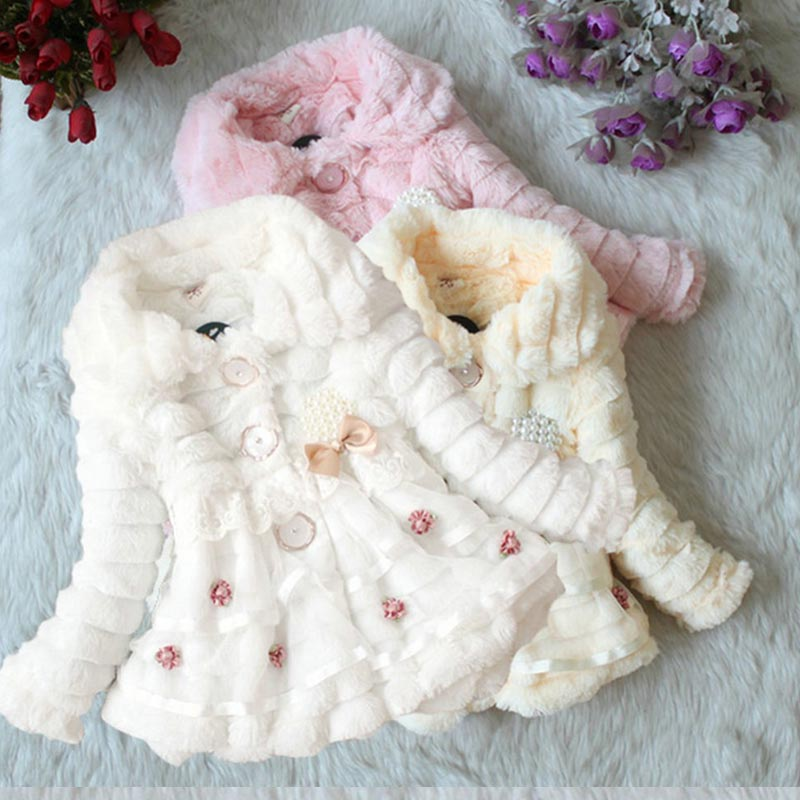 New Winter 2017 Baby Girls Outerwear & Coats Faux Fur Fleece Coat Party Pageant Warm Jacket Christmas Snowsuit 1-5Years 2017 new luxury faux fur coats fashion winter jacket for girls baby clothes parka elegant clothing little girl outerwear coat