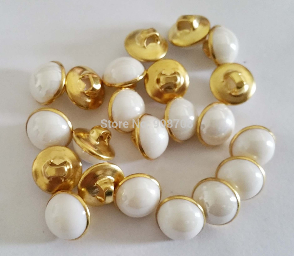 H0206 150Pcs Round copper bottom Shirt Buttons 10.5mm white Pearl Button Scrapbooking clothes Accessory