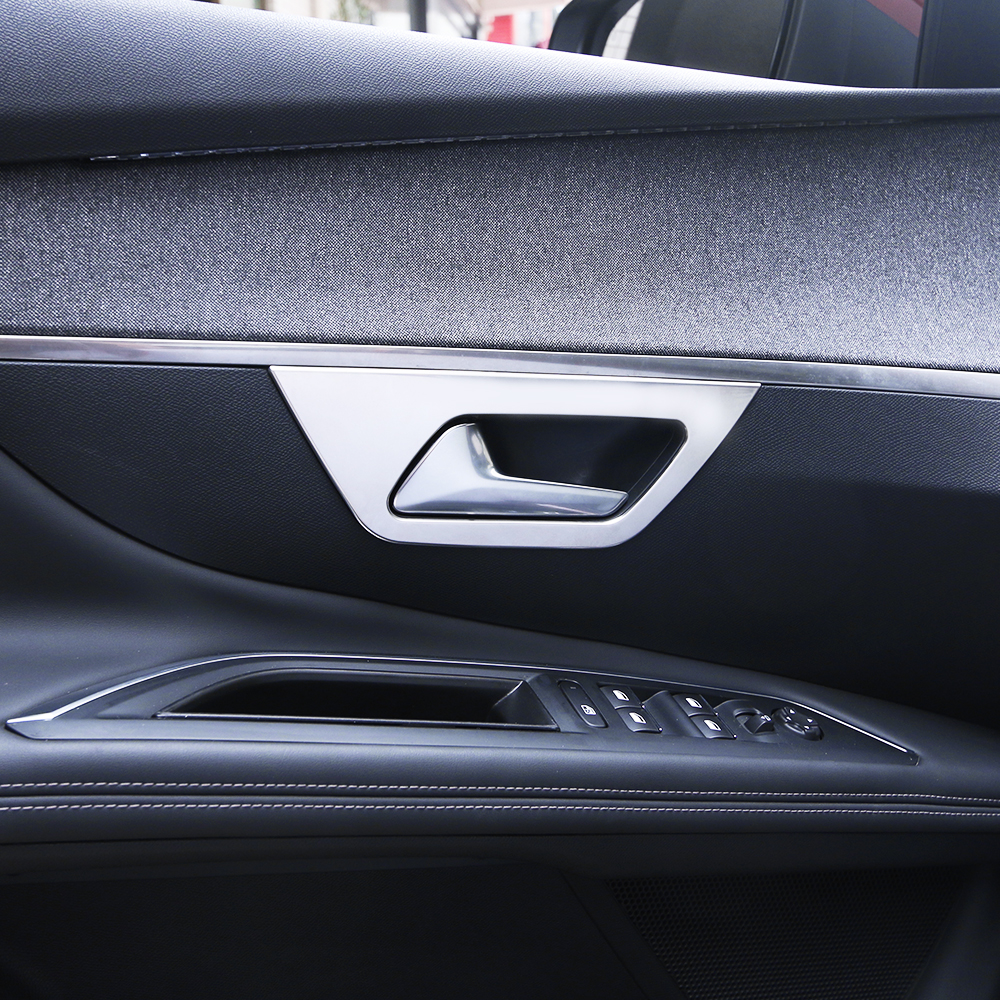 Car Styling Stainless Steel Inner Door Handle Bowl Cover Trim Interior Decoration Fit For 2017 Peugeot 3008 Accessories