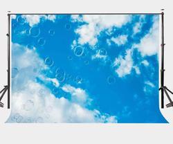 150x220 cm błękitne niebo białe chmury tło latające bąbelki fotografia tło
