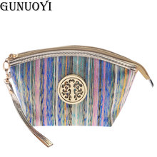 GUNUOYI New Stripe Cosmetic Bag portable Handbag Travel Makeup Velvet Bag to Wash the Organizers Bag NBHH~106