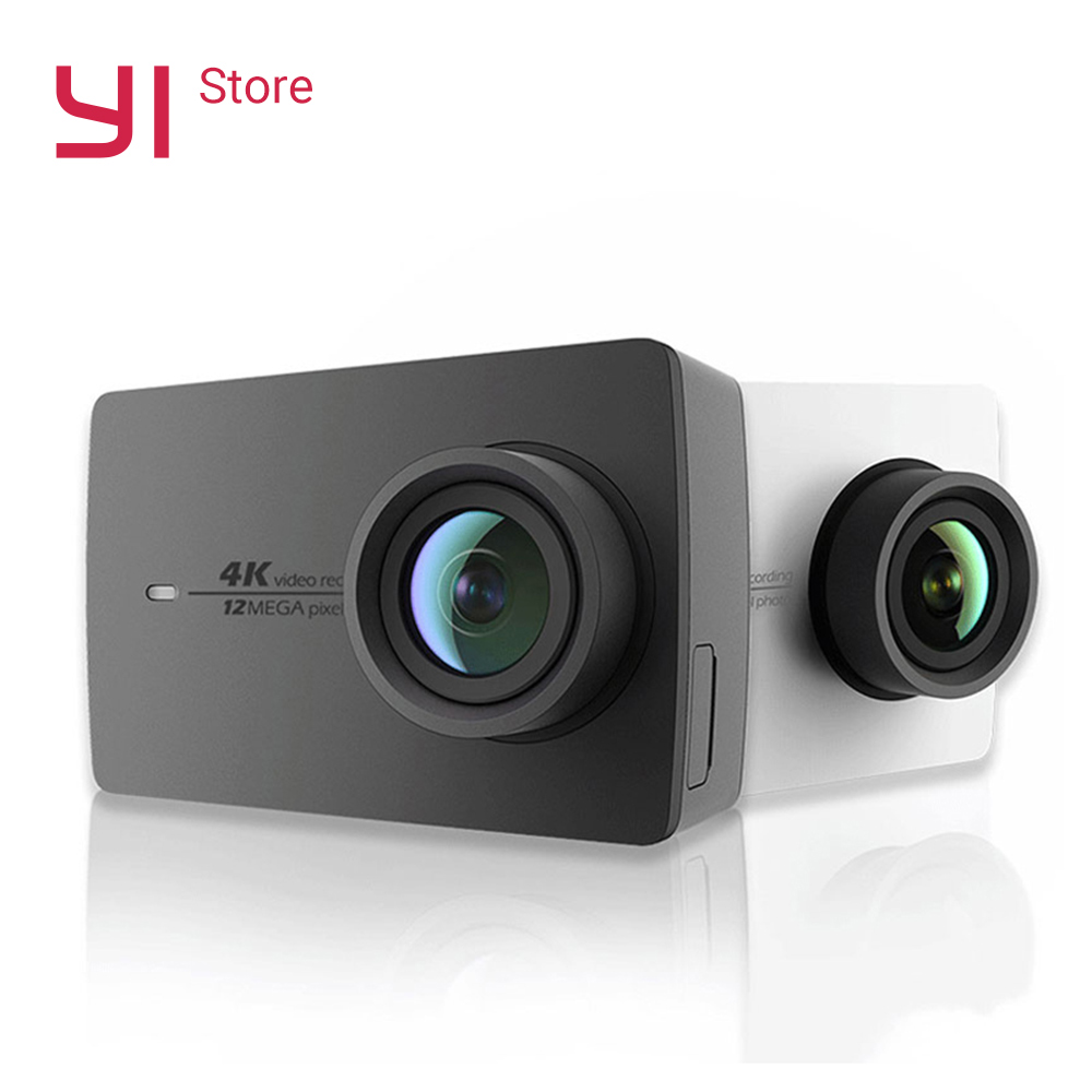 YI 4K Action Camera Bundle 2.19'' LCD Tough Screen 155 Degree EIS Wifi International Edition Ambarella 12MP CMOS Sports Camera