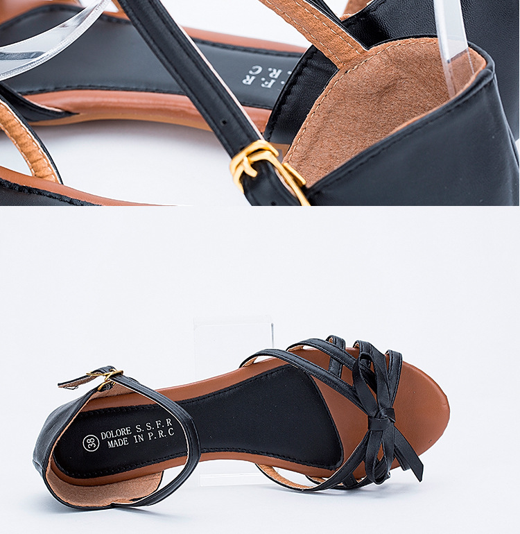 59f80a6b18a6 Womens Ankle Strap Leather Flat Sandals Strappy Low Heel Butterfly Knot  Fish Mouth Rome Ladies Gladiator Sandal Black White Pink-in Women s Sandals  from ...