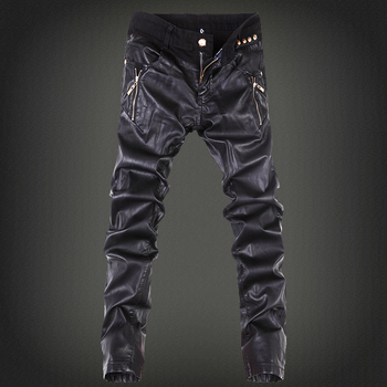 New ! Free Shipping Men's Fashion Slim Tight Patchwork Black Leather Pants Trousers / 28-34