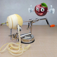 Multi Function 3in1 Stainless Steel Hand Operated Fruit Vegetable Apple Peeler Zester Slicer Kitchen Cooking Tool Cutter Machine