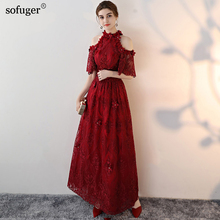Red Pink Champagne Lace Evening Dress 18 Half Sleeves Ankle-Length vestido  de festa Prom 82dee75fbf96