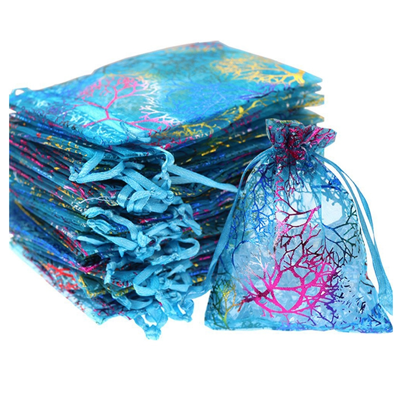 50Pcs 5x7 Inches Drawstring Organza Bags Jewelry Favor Pouches With Print For Gift,Wedding,Party,Festival (Blue)