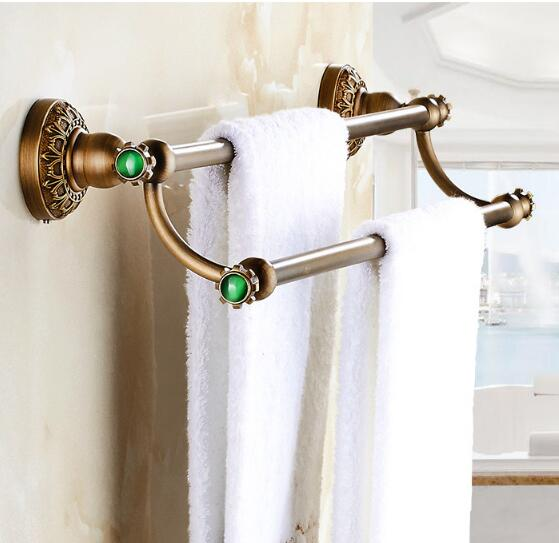 Free Shipping Antique double Towel Bar,Luxury Towel Holder, Towel rack Solid Brass Made Bathroom Accessories Towel Rail free shipping ti pvd double towel bar flowers