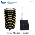 15 pagers Wireless Pager Restaurant Coaster Paging Queuing System with Rechargeable Battery 433.92MHz Restaurants Equipments