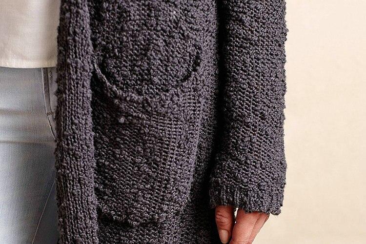 2015 Long Design Loose Knit Pattern Ang Pockets Women High Quaility