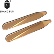 SHANG ZUN 2 PCS Double Mirror Polished Stainless Steel Collar Bones Rose Gold