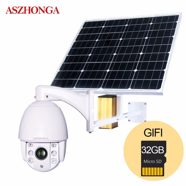 60W Solar Power Panel 3G 4G SIM Wireless 1080P Wi-Fi Speed Dome PTZ IP Camera Outdoor Security Surveillance CCTV Free 32GB Card