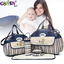 5 Pcs Set Diaper Bag Baby Girl The Handbag Large Capacity Waterproof Bags For Baby Carriages Multifunction Baby Diaper Changing