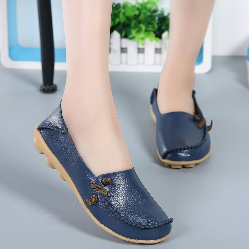 Size 44 Genuine Leather Women Flats Shoes Summer Comfortable Female Loafers Casual Ladies Driving Footwear Women Flats HBT712 new summer shoes women breathable air mesh woman loafers platforms female flats shoe casual wedges ladies footwear driving shoes