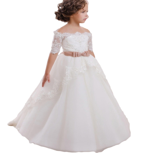403b7a3be98 2016 New Hot White Ivory Lace Flower Girls Dresses With Belt Floor Length  Girls First Communion Dress Kinds A Line Dress