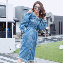 Summer off-the-shoulder Denim Dress Women  Vintage Long Sleeve Jeans Dresses Party Sexy Plus Size Dress все цены