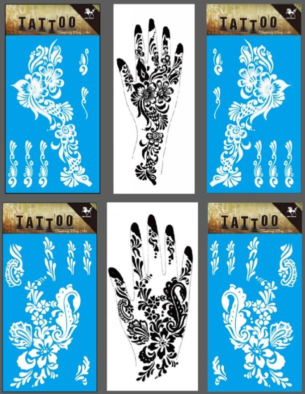 6 paar = 12 stücke Hände Weiß Henna Tattoo Temporäre Rechte Linke Hand Tattoo Aufkleber Blume Henna Design Tatuagem 6 Modelle