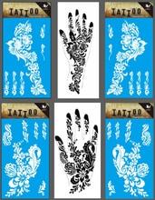 6pairs=12pcs Hands White Henna Tattoo Temporary Right Left Hand Tattoo Sticker Flower Henna Design Tatuagem 6 Models