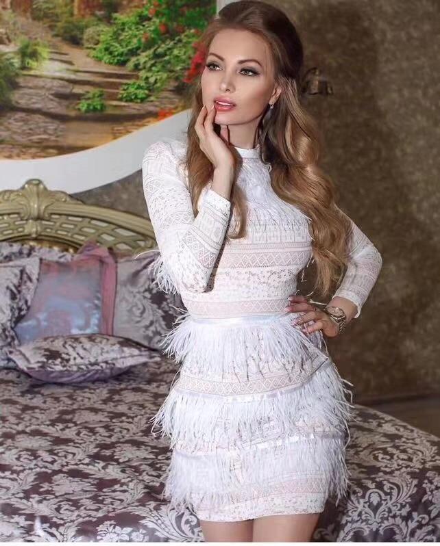 White Embroidery Nude Mesh Gown 2017 Dubai Arabic Muslim