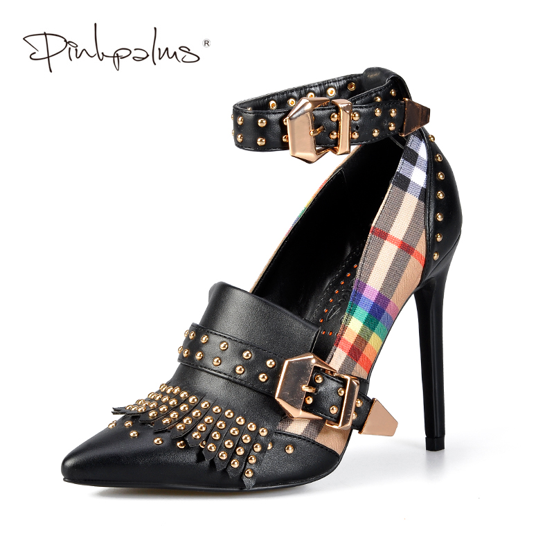 Pink Palms Mary Jane Shoes in Women's Pumps High Heels Bulgari Classic Tartan Shoes with Rivets Ankle Strap Buckle Shoes Women pink palms 2018 newest casual pumps women shoes high heels wedge shoes lace up and ankle strap ladies sneakers denim shoes