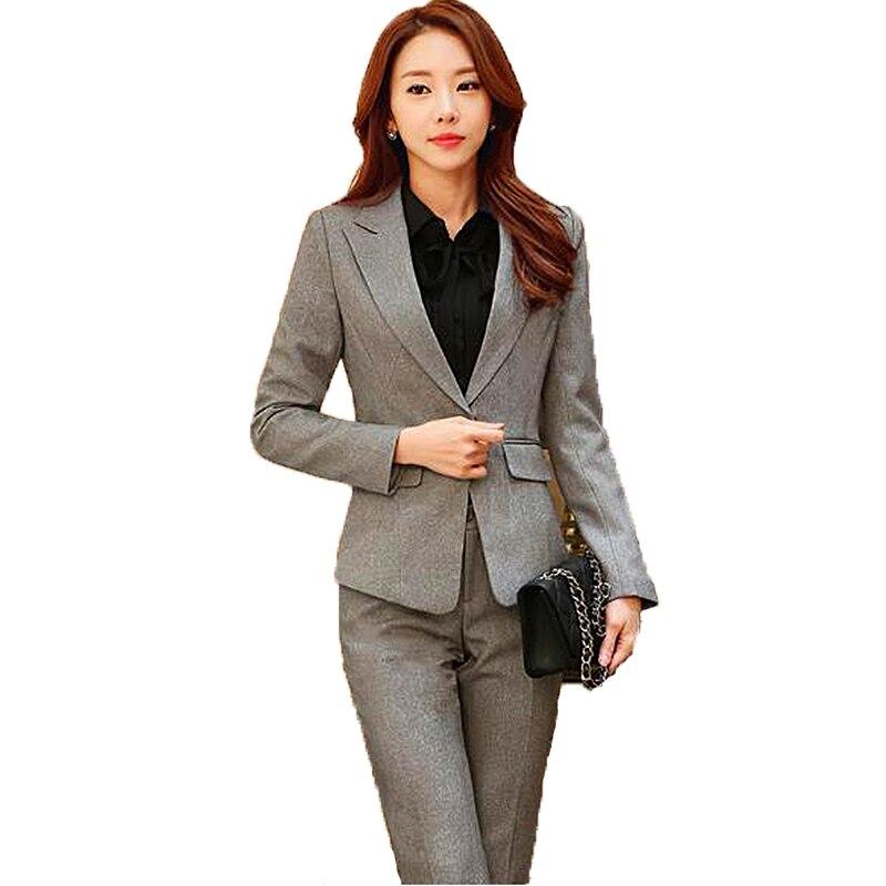 Korean Professional Suit Women's Suits Blazer Jacket+trouser+skirt+shirt 4,3,2piece Sets Blue Office Suits For Women Blazer Set