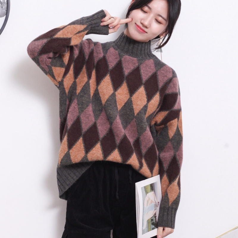 Autumn Winter Sweater Women Harajuku style Solid color Loose Pullover Retro Twist Argyle Pattern Round neck Warm Soft Sweater