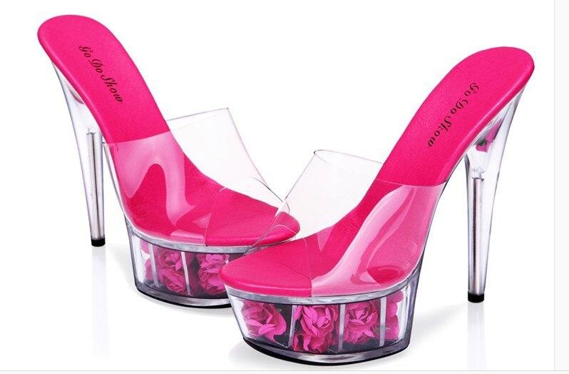 15cm große transparente Sohlen High Heels dicke Plattform Rose Frau cool Schieberegler 4-14