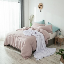 PHF New Brief Comfortable Pink Bedding Set 3 Pcs Pure Hemp Duvet Cover Queen King Size Soft Breathable Lightweight Bed Linen