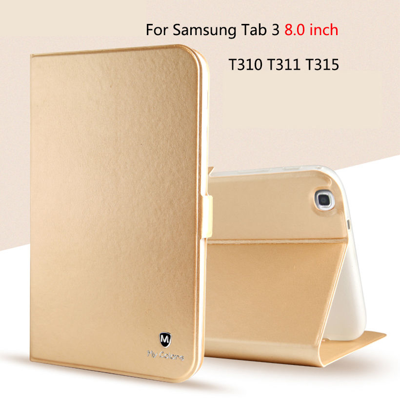 Custodia in silicone di lusso PU Custodia per Samsung Galaxy Tab 3 8.0 SM-T310 T311 T315 Custodia Cover Funda Fashion Tablet Flip Stand Shell