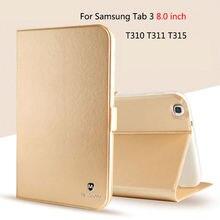 Lujo pu leather case de silicona para samsung galaxy tab 3 8.0 t315 sm-t310 t311 cubierta funda case moda tablet soporte del tirón shell