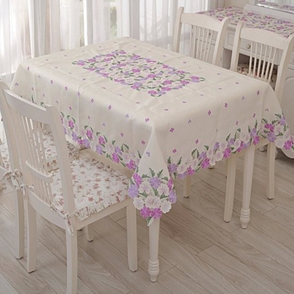 Tablecloth Embroidery Table Cove Cloth 130180cm Purple Flower Design For Home Hotel Weeding