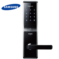 Английская версия большой врезной черный Цвет Samsung отпечатков пальцев цифровой замок shs h705 (отпечатков пальцев + пароль + ключ)