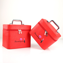 Professional Cosmetic Bags Waterproof Double Box Beauty Organizer Zipper Makeup Case Travel Suitcase kundui high quality large suitcase unequal travel trolley case cosmetic case makeup hair and beauty munsu toolbox luggage bags