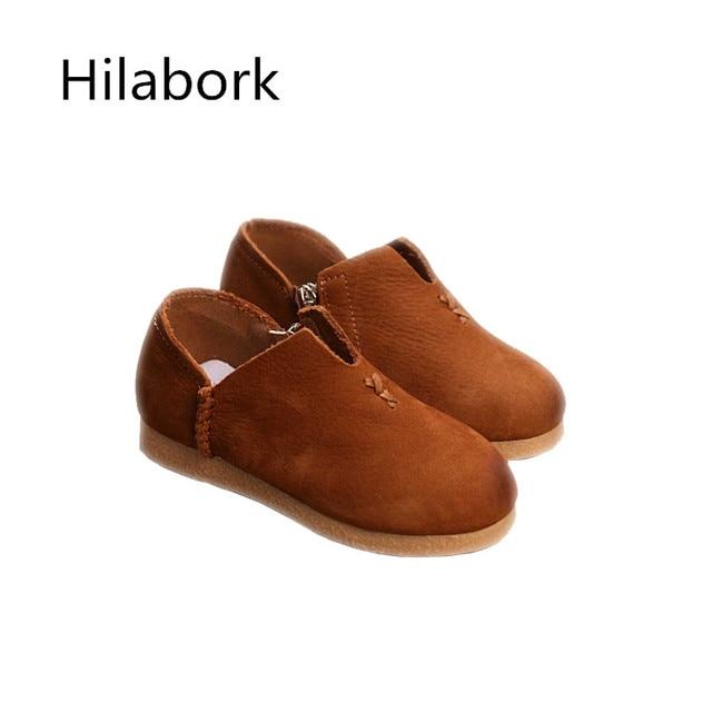 2017 весна новых детских shoes кожа одноместный shoes дышащий моды кожа стороны молнии мальчики и девочки досуг single shoes