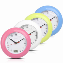 Baldr Waterproof Analog Bathroom Clock Suction Cups Temperature Sensor Digital Thermometer Wall Watch Women Makeup Shower Timer