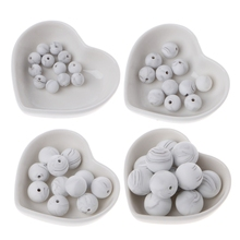 10pcs Silicone Marble White Teething Beads Round BPA Free Baby Chewable Necklace Making