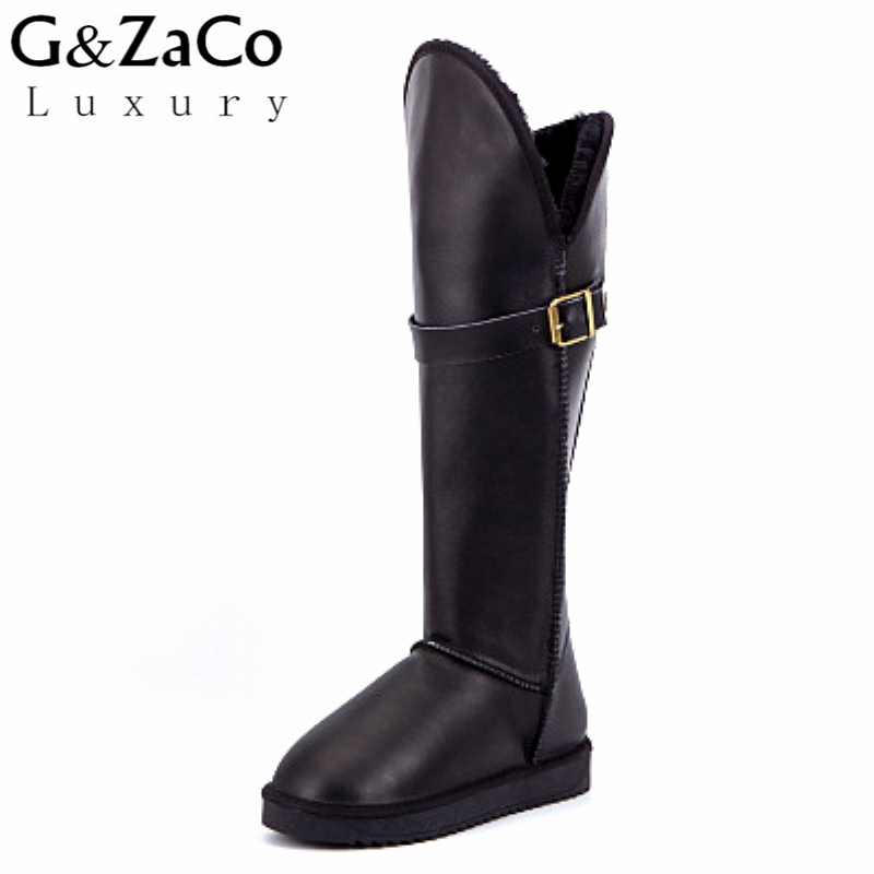 G&Zaco Luxury New Winter Genuine Leather Cowhide Boots High Knee-High Long Snow Boots Female Thick Fur Buckle Waterproof Boots faux fur buckle knee high snow boots
