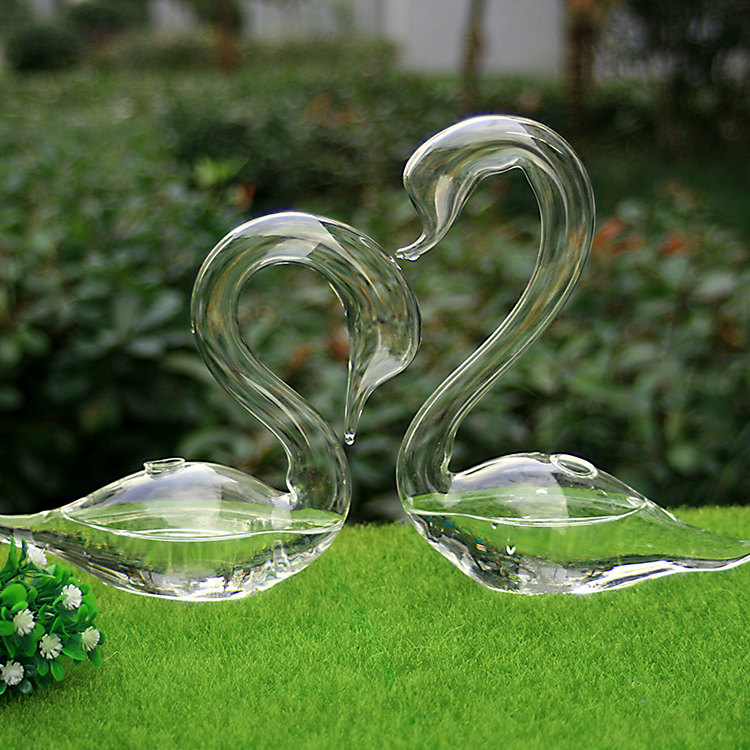 par de cisne de cristal soplado a mano claro florero o recortes de plantas para