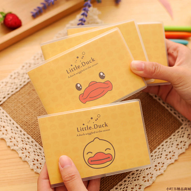 4pcs/lot 10.6*7.2cm Creative Yellow Duck Plastic Sleeve Job The Student Office Business Work Notebook Mini Diary Book ...