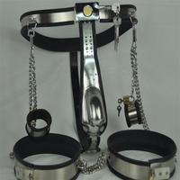 2016 sex tools shop 3 pcs/set stainless steel male chastity belt thighs ring handcuffs fetish bdsm bondage harness set sextoys.