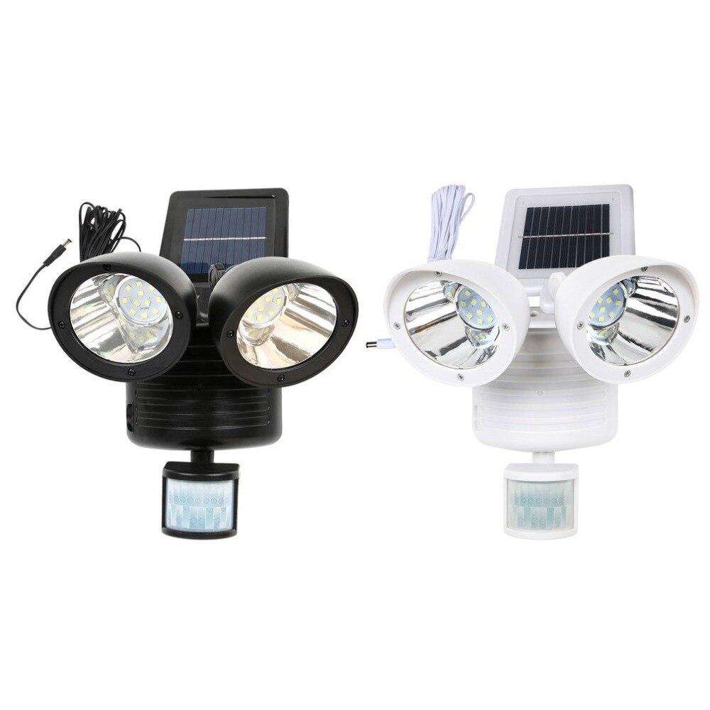 22 LED PIR Detector Solar Security Lamp Solar Spot Light Motion Sensor Floodlight Outdoor Lighting For Garden Yard White Black