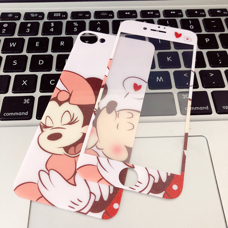 Clear Stocks For iPhone7 8p 6splus Funny Glitters Cartoon Minnie Front Screen back