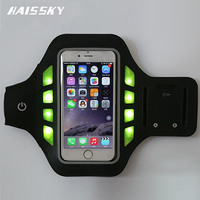 LED Flashing Brushed Metal PVC Arm Armband Case For Samsung Galaxy S5 For Iphone 6 Running