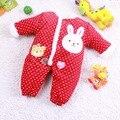 Rosa coelho de algodão acolchoado macacões macacão para meninas inverno quente macacão para crianças crianças roupa Bebe roupas