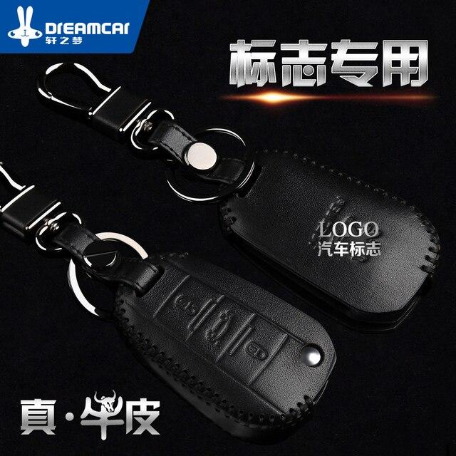 Dongfeng Знак 307 308 408 301 508 Натуральная Кожа Шить-на Смарт-Ключа Автомобиля Кошелек Набор