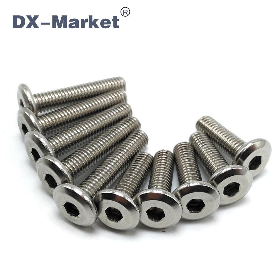 M6*30 , 50pcs , Sus304 Stainless Steel Flat Head Bolt For Furniture Fasteners  , High Quality Waterproof Thin Head Screw ,A013