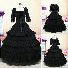 Freeship!Customer-made Black cotton 1800 Victorian dress 1860s Civil war Dress Theater Reenactor Costume Renaissance Dress V-410