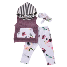 3PCS Set Newborn Infant Baby Boy Girl Clothes Sleeveless Hooded Top Floral Pant Headband Outfit Toddler