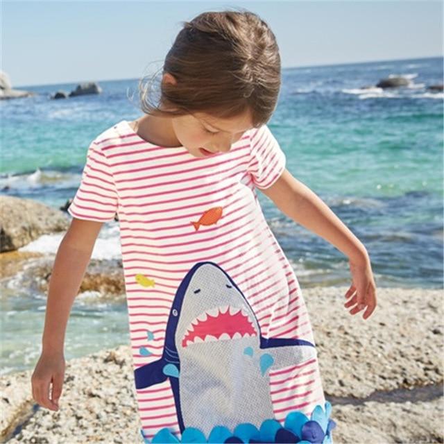 Vestido de algodón de dibujos animados para niñas con estampado de tiburón bonito de manga corta para niñas nueva moda para niños vestidos de verano para niñas